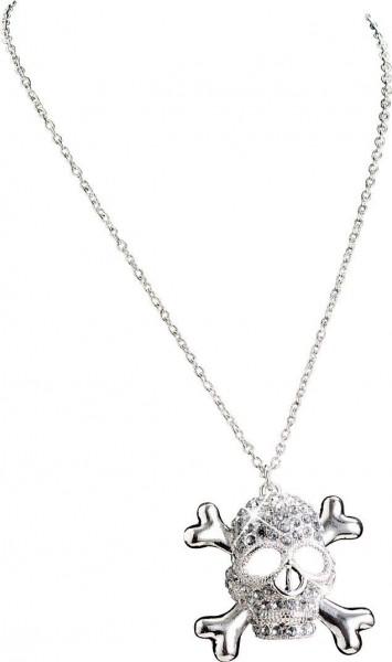 Glitzernde Totenkopf Halskette Silber