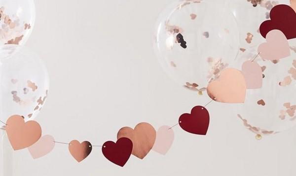 Guirnalda corazones oro rosa 2m