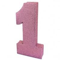 Glitzernde Zahl 1 Tischdeko rosa 20cm