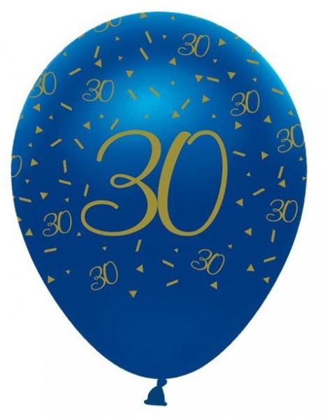 6 ballons en latex 30e anniversaire bleu 30cm