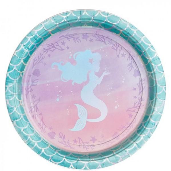 8 papierowych talerzy Mermaid Treasures 22 cm