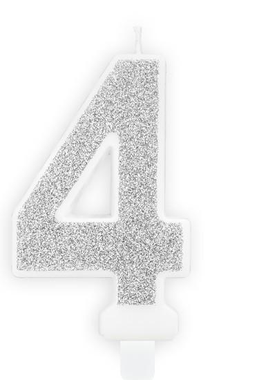 Candela numero 4 candelina argento 7cm