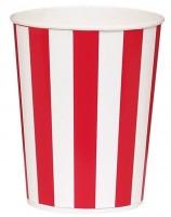 4 Popcorn Becher Rot Weiß
