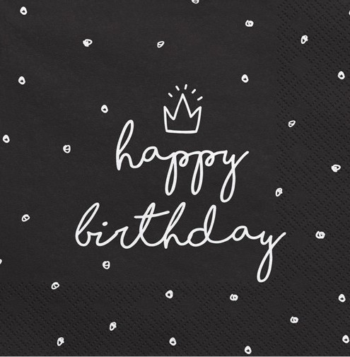 20 My Birthday napkins black 33cm