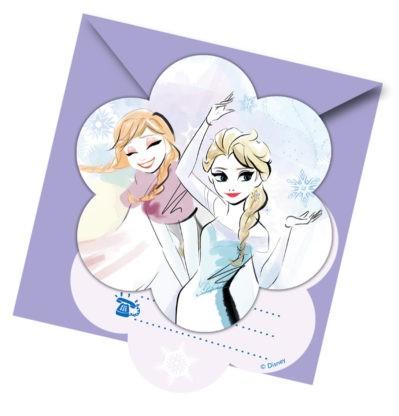 6 Sparkled Frozen Einladungskarten
