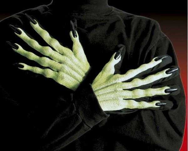 Halloween Horror Handschuhe Hexe Giftgrün