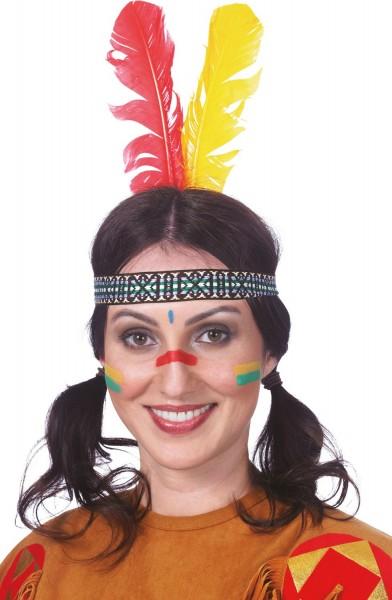 Indiander-Stirnband Rot-Gelbe Feder