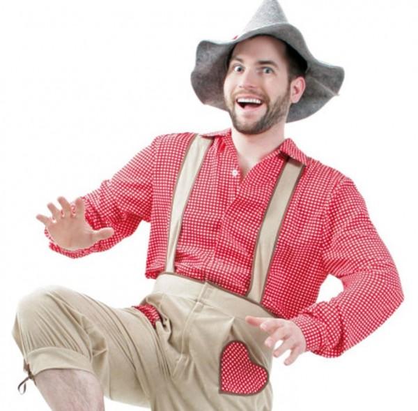 Rot-weißes Unisex Trachtenhemd