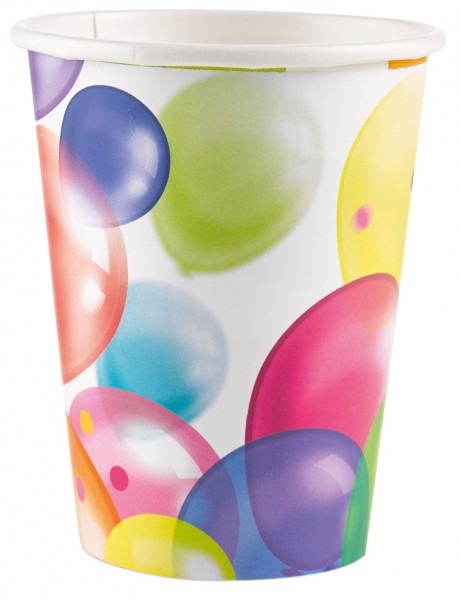 8 Birthday Balloons Paper Cup 266 ml