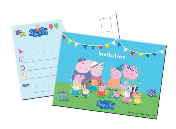 8 Einladungskarten Peppa Wutz 1