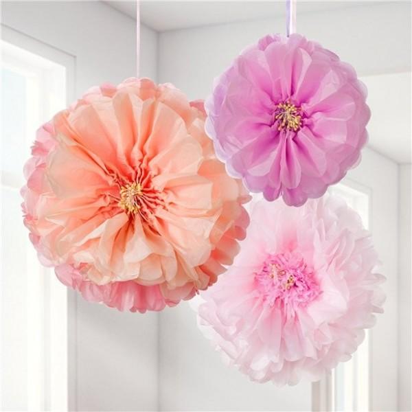 3 fleurs de pompon moelleuses Summer Blush