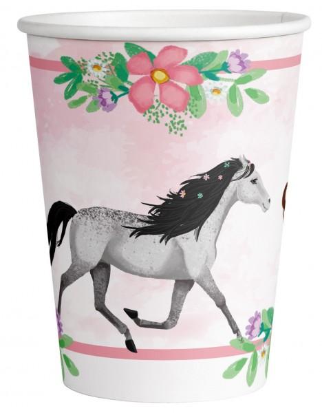 8 Pferde Pappbecher Fleur 250ml