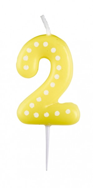 Birthday Party Colourful Number Candle 2 With Dots