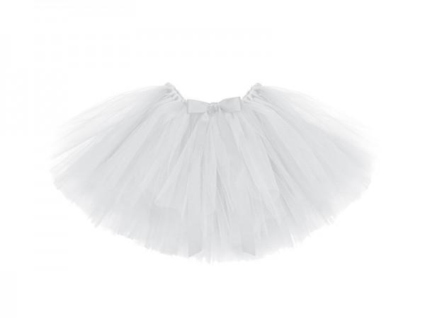 Tüllrock Tutu Weiß mit Schleife Taillenumfang 60cm