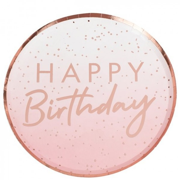 8 Rosy Birthday Pappteller 24cm