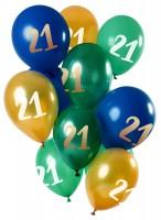 21.Geburtstag 12 Latexballons Grün Gold