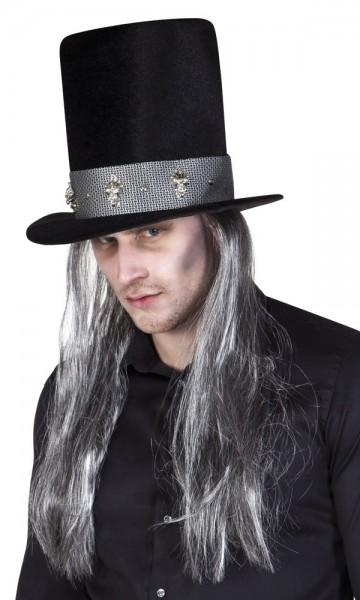 Haut-de-forme avec croque-mort cheveux gris