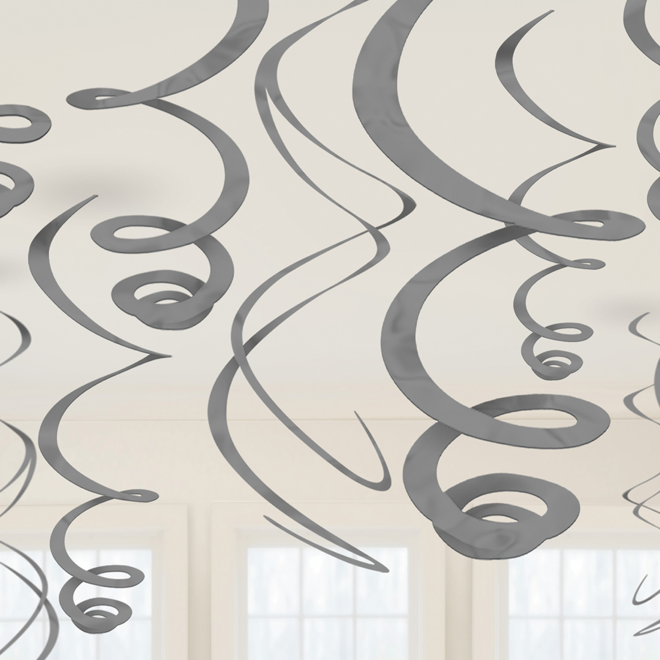 12 Elegante Deko Spiralen Silber 55 8cm Party De