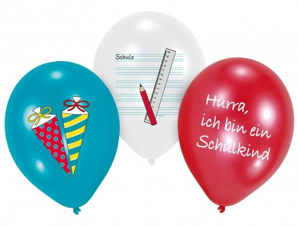 6 Endlich Schule Latexballons 28cm