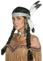 Indianer Perücke Flechtzopf Mit Federschmuck