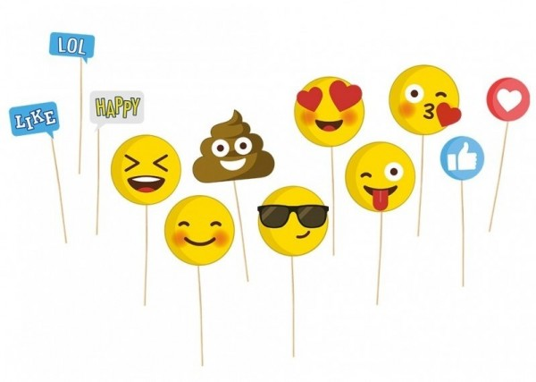 12-teiliges Emoji Fotobox Requisiten Set