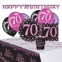 Pink 70th Birthday Deko Set 41-teilig