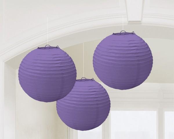 3 lanternes Summer Tale violettes 20cm