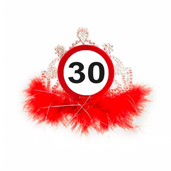Traffic sign 30 birthday crown