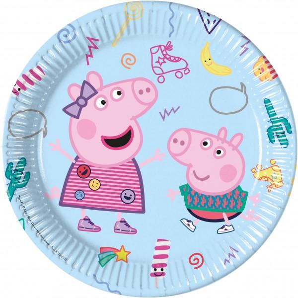 8 platos de papel Peppa Pig 23cm