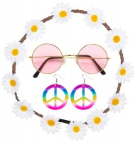 Hippie Set Flower Power 3-Teilig