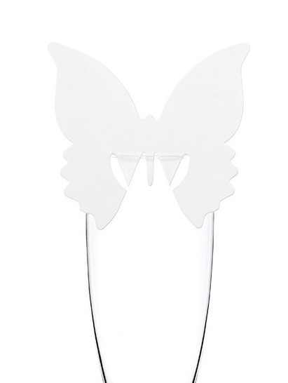 Butterfly Glas-Dekoration Weiß 7,5 cm x 8 cm