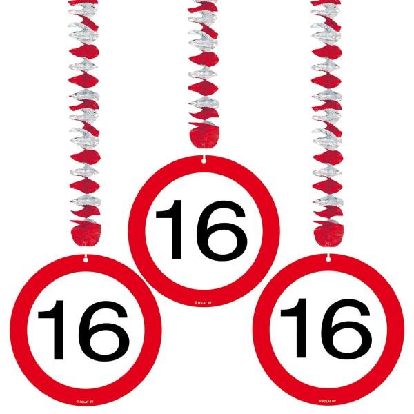 3 Verkehrsschild 16 Spiralhänger 75cm