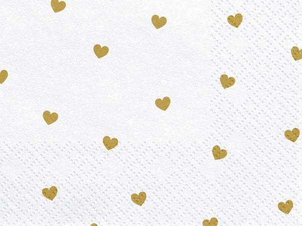 20 Goldene Herzregen Servietten 33cm 4