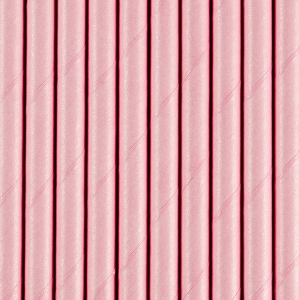 10 pailles en papier rose 19,5 cm