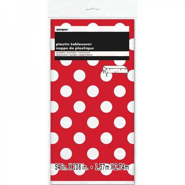 Party tablecloth Tiana red dotted 137 x 274cm
