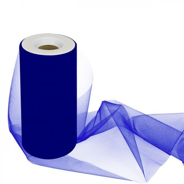 Rollo de tul para decoración de mesa azul royal 25m x 15cm
