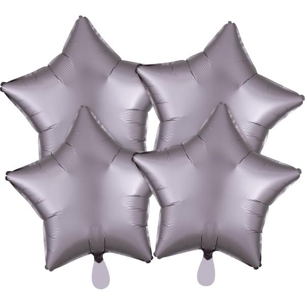 4 Satin Sternballon mauve 43cm