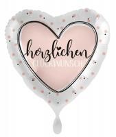 Glückwunsch Herz Folienballon creme 45cm