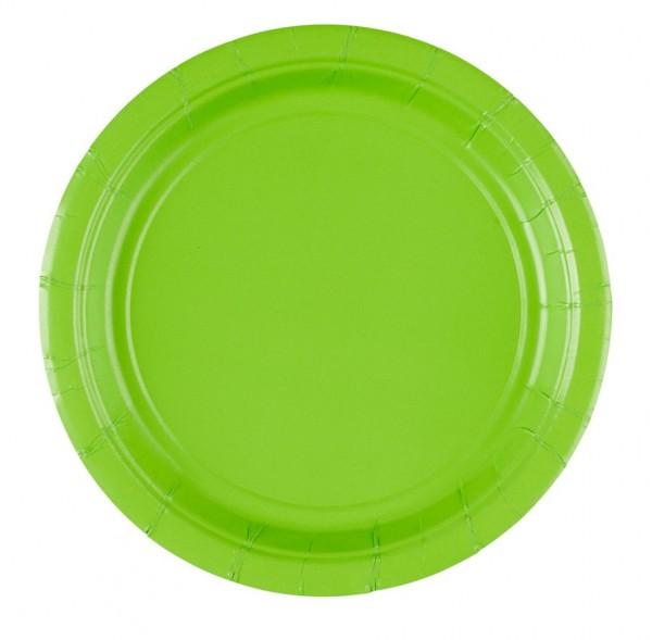 8 platos de papel Partytime verde kiwi 17,7cm