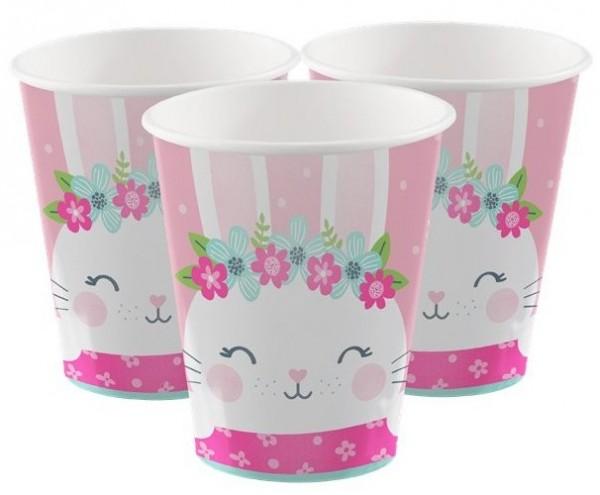 8 papierowych kubków różowy króliczek 255ml