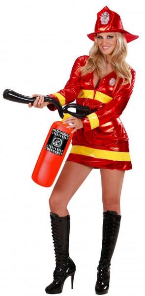 Sexy metallic brandweervrouw kostuum