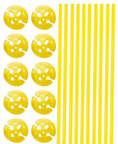 10 balloon sticks & cups in yellow