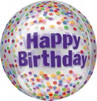 Folienballon Happy Birthday Konfetti
