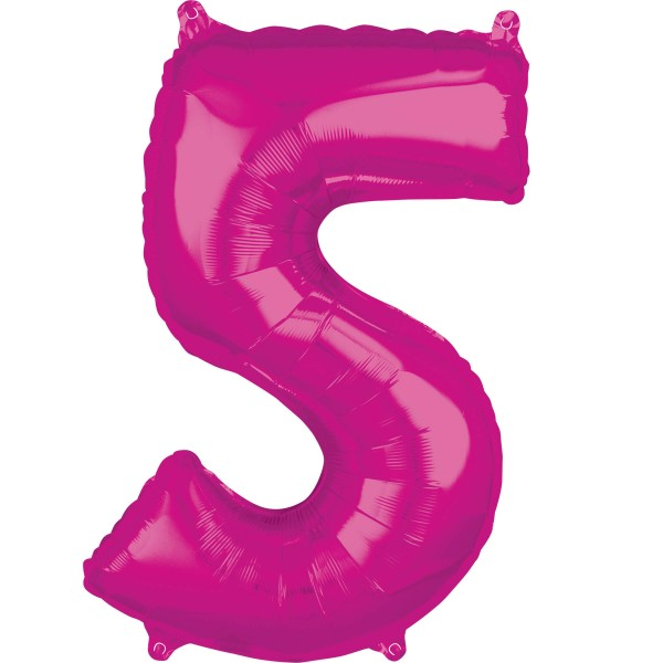 Pink number 5 foil balloon 66cm