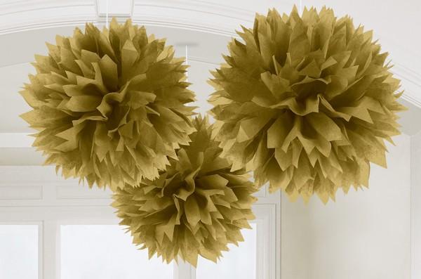 3 Fluffy Pompons Gold 40,6cm