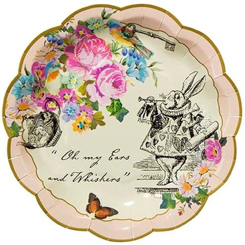 12 papierowych talerzy Alicja w Krainie Czarów 17 cm