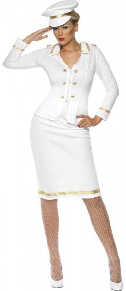 Weißes Kapitäns Damenkostüm