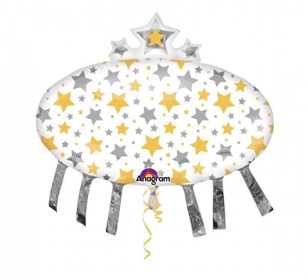 Ballon aluminium étoile pluie argent-or XL