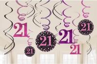 12 Pink 21st Birthday Spiralhänger 61cm
