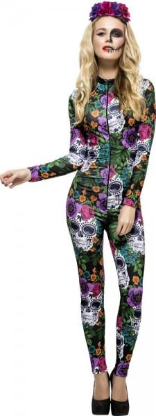 Flower Power Skelett Jumpsuit für Damen